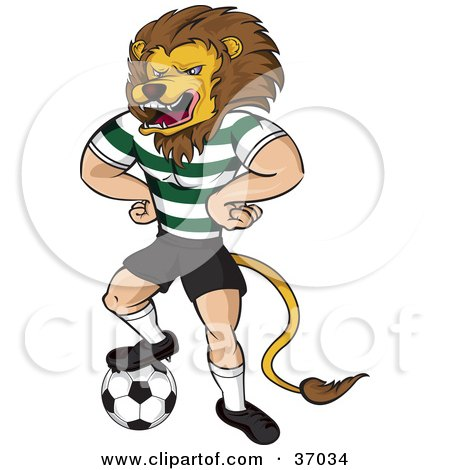 Clipart Illustration of a Lion Mascot In Uniform, Standing With His Hands On His Hips And One Foot On A Soccer Ball by Paulo Resende