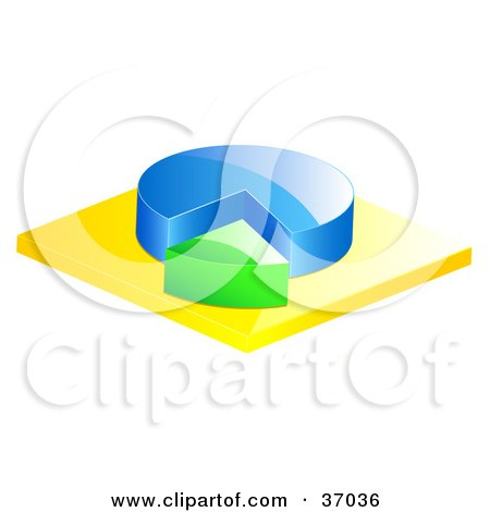 Clipart Illustration of a Blue and Green Pie Chart by elaineitalia