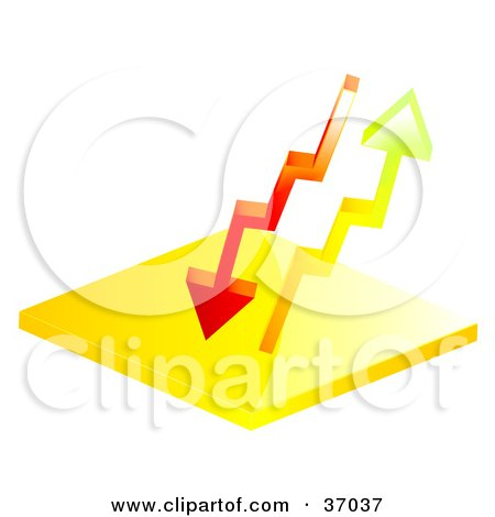 Clipart Illustration of Red And Orange Arrows Flowing Up And Down by elaineitalia