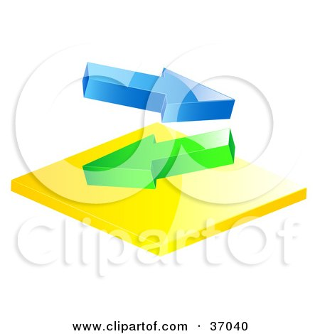 Clipart Illustration of Blue And Green Arrows Flowing In Different Directions by elaineitalia