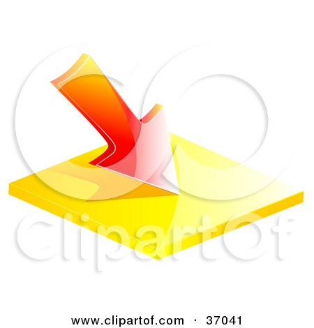Clipart Illustration of a Red Loss Arrow Pointing Down by elaineitalia