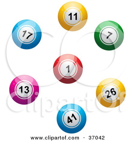 Clipart Illustration of Colorful Lottery Or Bingo Balls In A Circle by elaineitalia