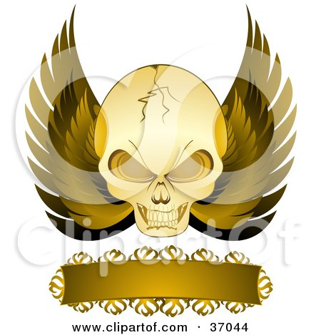 Clipart Illustration of a Cracked Evil Skull With Golden Wings And A Blank Banner, On A White Background by elaineitalia