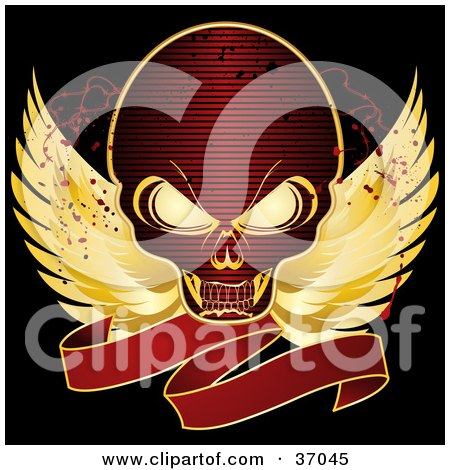 37045-Red-Skull-With-Golden-Wings-And-A-