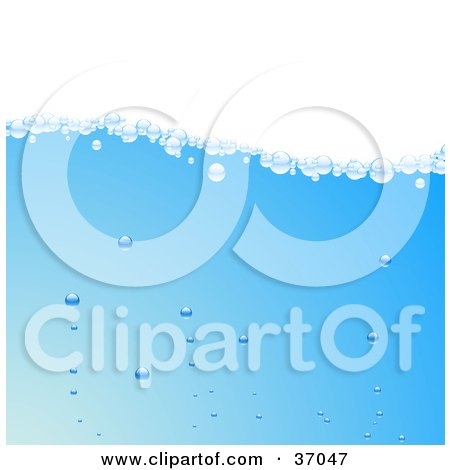 Clipart Illustration of Clear Bubbles Floating To The Surface Of Blue Water by elaineitalia