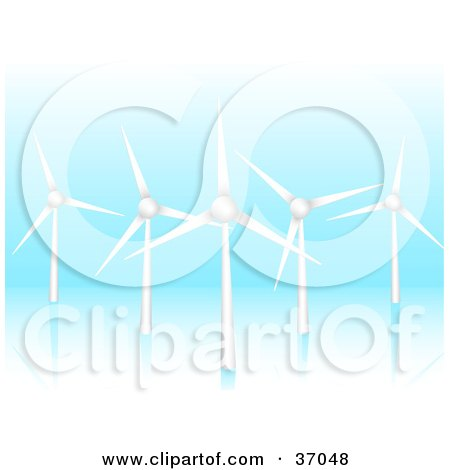 Clipart Illustration of Five Wind Turbines Spinning And Generating Energy On A Blue Reflective Background by elaineitalia
