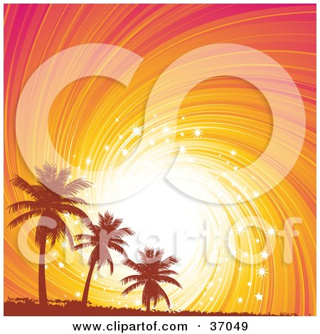 Clipart Illustration of Orange Silhouetted Grungy Palm Trees Against A Sparkling Orange And Pink Swirly Sunset by elaineitalia