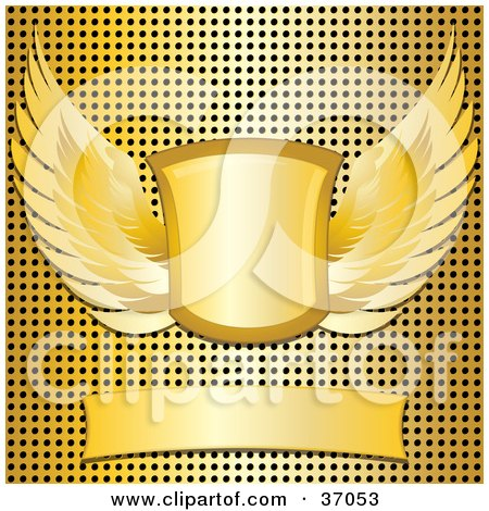 Clipart Illustration of a Blank Banner With A Winged Shield Over A Gold Metal Grid Background by elaineitalia