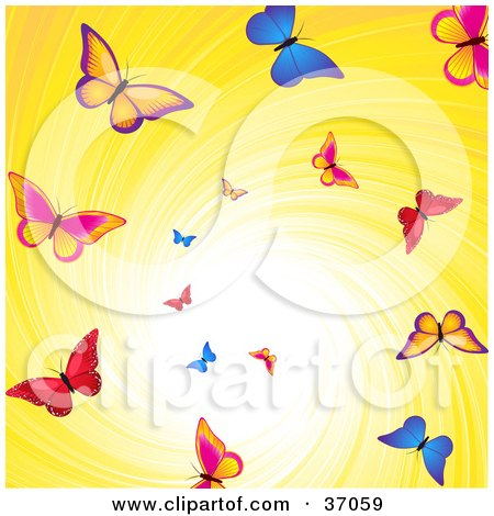 Clipart Illustration of Colorful Butterflies Flying Down A Swirling Yellow Vortex With Bright Light by elaineitalia