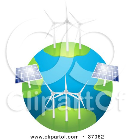 Clipart Illustration of Wind Farm Turbines And Solar Panels Generating Energy On Planet Earth, On A White Background by elaineitalia