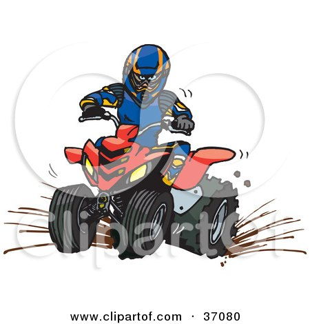 Royalty-free clipart picture of a man in safety gear, riding a red quad
