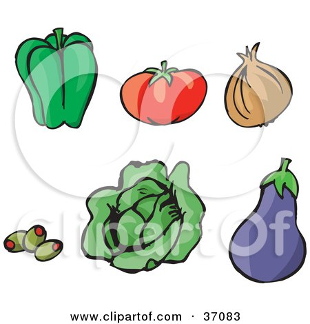 Clipart Illustration of a Green Bell Pepper, Tomato, Yellow Onion, Stuffed Green Olives, Lettuce And A Purple Eggplant by Dennis Holmes Designs