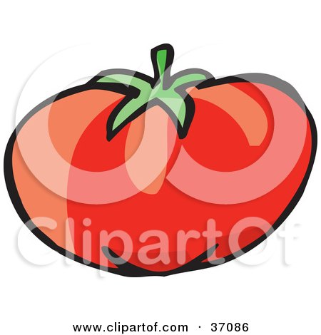 Clipart Illustration of a Plump, Red And Juicy Organic Tomato by Dennis Holmes Designs
