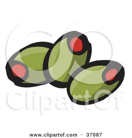 Clipart Illustration of Three Pimento Stuffed Green Olives by Dennis Holmes Designs