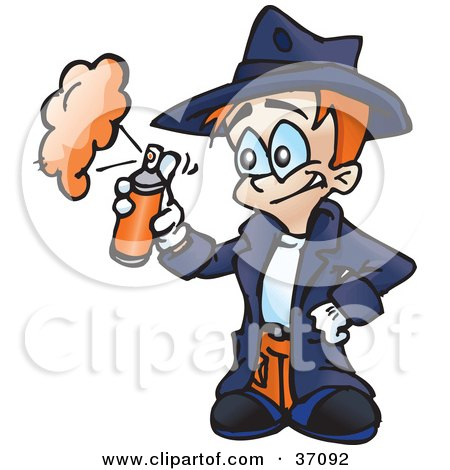 Clipart Illustration of a Little Boy In A Trench Coat, Spraying Hair Spray Or Spray Paint by Dennis Holmes Designs