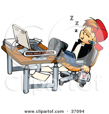 Clipart Illustration Of A Tired Young Man With A Cup Of