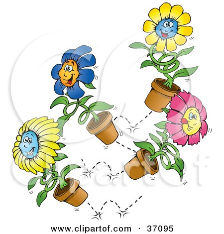 Clipart Illustration of a Group Of Happy Blue, Yellow And Pink Spring Flowers Bouncing Around by Dennis Holmes Designs