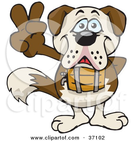 Clipart Illustration of a Peaceful St Bernard Smiling And Gesturing The Peace Sign by Dennis Holmes Designs