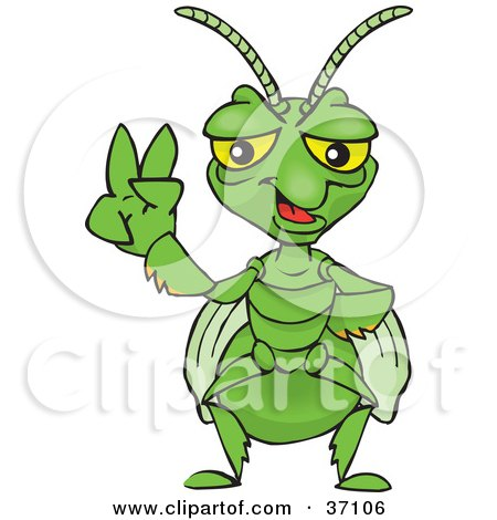 Clipart Illustration of a Peaceful Praying Mantis Smiling And Gesturing The Peace Sign by Dennis Holmes Designs