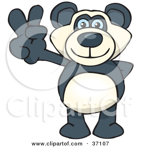 Clipart Illustration of a Peaceful Panda Bear Smiling And Gesturing The Peace Sign by Dennis Holmes Designs