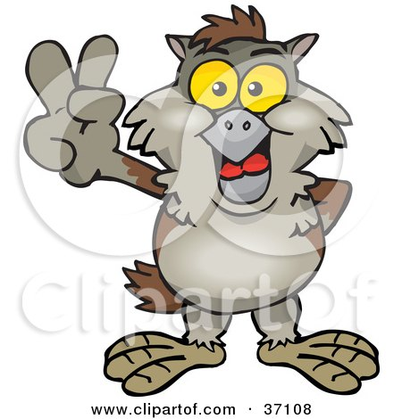 Clipart Illustration of a Peaceful Brown Owl Smiling And Gesturing The Peace Sign by Dennis Holmes Designs