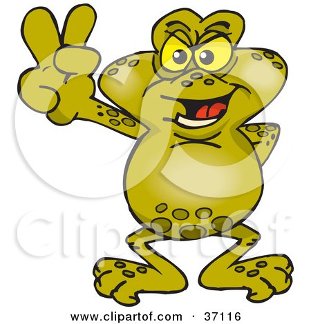 Clipart Illustration of a Peaceful Toad Smiling And Gesturing The Peace Sign by Dennis Holmes Designs