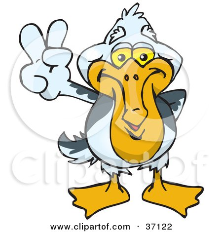 Clipart Illustration of a Peaceful Pelican Smiling And Gesturing The Peace Sign by Dennis Holmes Designs