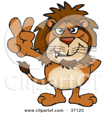 Clipart Illustration of a Peaceful Lion Smiling And Gesturing The Peace Sign by Dennis Holmes Designs