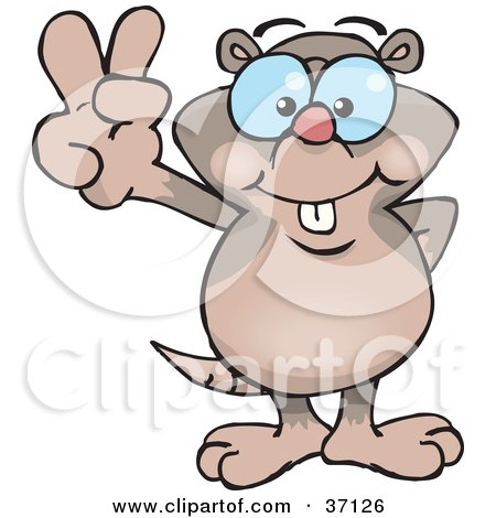 Clipart Illustration of a Peaceful Mole Smiling And Gesturing The Peace Sign by Dennis Holmes Designs