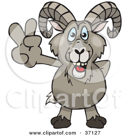 Clipart Illustration of a Peaceful Bighorn Sheep Smiling And Gesturing The Peace Sign by Dennis Holmes Designs