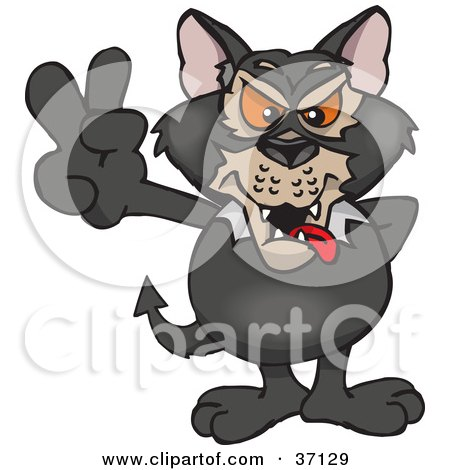 Clipart Illustration of a Peaceful Tasmanian Devil Smiling And Gesturing The Peace Sign by Dennis Holmes Designs