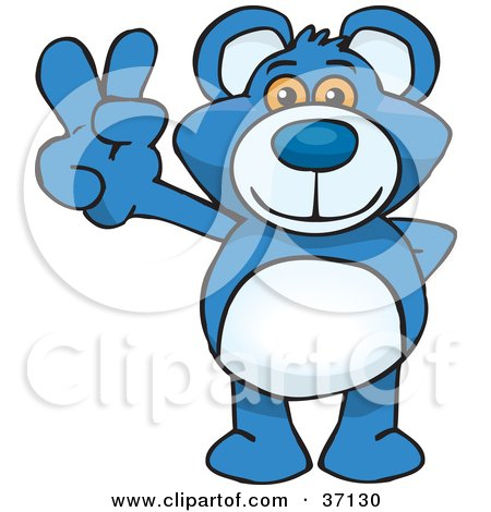 Clipart Illustration of a Peaceful Blue Teddy Bear Smiling And Gesturing The Peace Sign by Dennis Holmes Designs