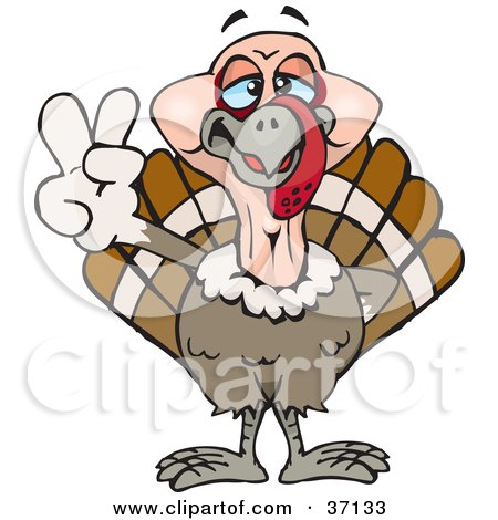 Peaceful Turkey Bird Smiling And Gesturing The Peace Sign Posters, Art Prints