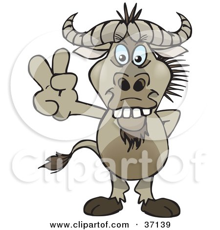 Clipart Illustration of a Peaceful Wildebeest Smiling And Gesturing The Peace Sign by Dennis Holmes Designs