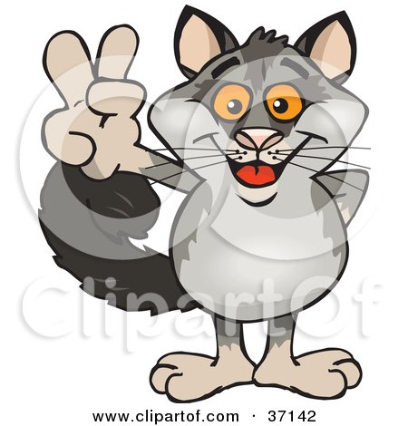 Clipart Illustration of a Peaceful Possum Smiling And Gesturing The Peace Sign by Dennis Holmes Designs