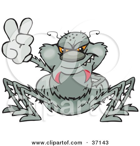 Clipart Illustration of a Peaceful Gray Spider Smiling And Gesturing The Peace Sign by Dennis Holmes Designs
