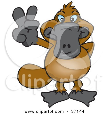 Clipart Illustration of a Peaceful Platypus Smiling And Gesturing The Peace Sign by Dennis Holmes Designs