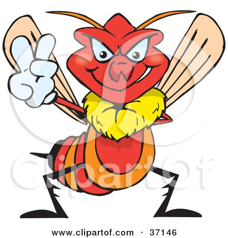 Clipart Illustration of a Peaceful Red Wasp Smiling And Gesturing The Peace Sign by Dennis Holmes Designs