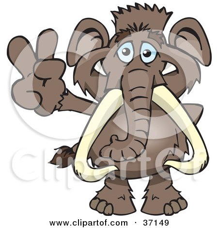 Clipart Illustration of a Peaceful Mammoth Smiling And Gesturing The Peace Sign by Dennis Holmes Designs