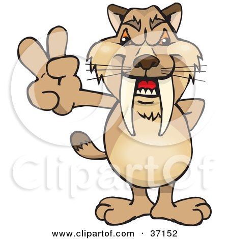Clipart Illustration of a Peaceful Sabertooth Tiger Smiling And Gesturing The Peace Sign by Dennis Holmes Designs