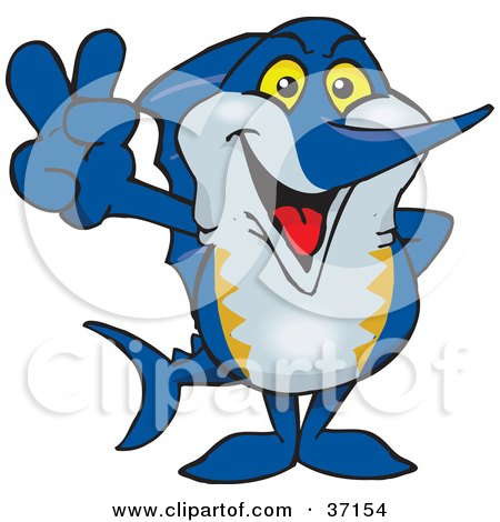 Clipart Illustration of a Peaceful Marlin Smiling And Gesturing The Peace Sign by Dennis Holmes Designs