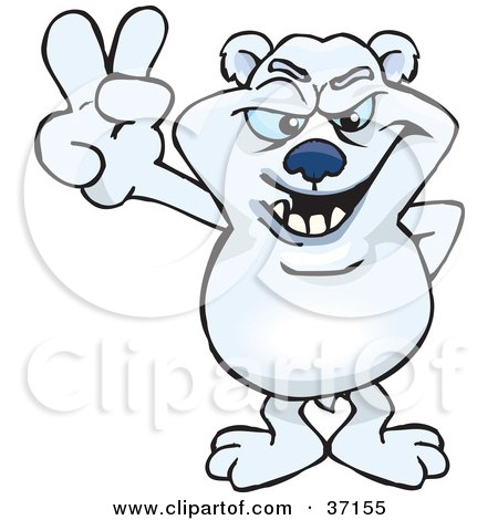 Clipart Illustration of a Peaceful Polar Bear Smiling And Gesturing The Peace Sign by Dennis Holmes Designs