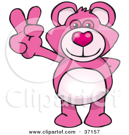 Clipart Illustration of a Peaceful Pink Teddy Bear Smiling And Gesturing The Peace Sign by Dennis Holmes Designs