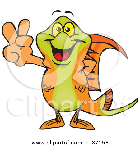 Clipart Illustration of a Peaceful Swordtail Smiling And Gesturing The Peace Sign by Dennis Holmes Designs
