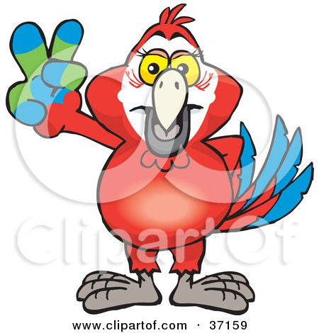 Clipart Illustration of a Peaceful Red Macaw Parrot Smiling And Gesturing The Peace Sign by Dennis Holmes Designs