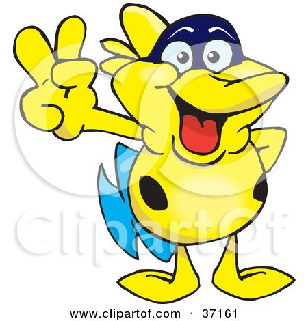 Clipart Illustration of a Peaceful Yellow Fish Smiling And Gesturing The Peace Sign by Dennis Holmes Designs