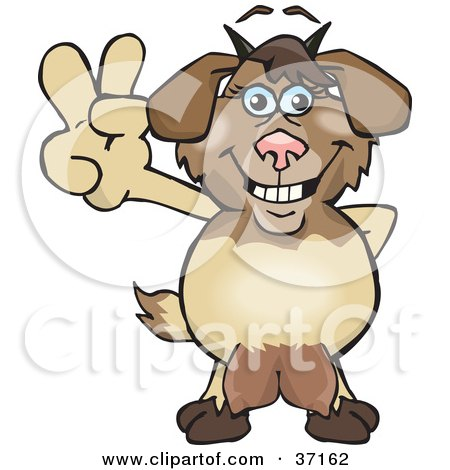 Clipart Illustration of a Peaceful Nanny Goat Smiling And Gesturing The Peace Sign by Dennis Holmes Designs