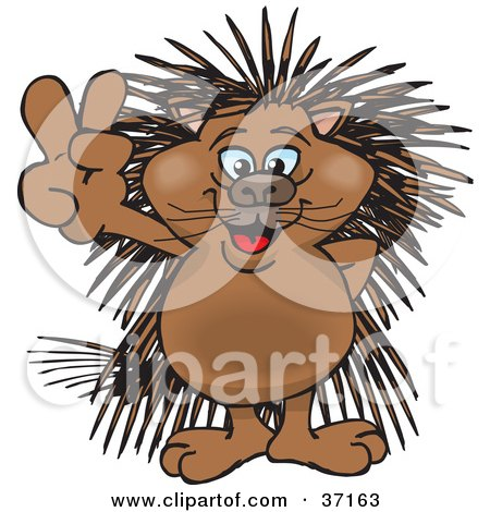 Clipart Illustration of a Peaceful Porcupine Smiling And Gesturing The Peace Sign by Dennis Holmes Designs