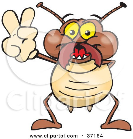 Clipart Illustration of a Peaceful Termite Smiling And Gesturing The Peace Sign by Dennis Holmes Designs