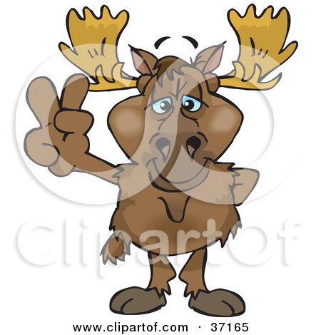 Clipart Illustration of a Peaceful Moose Smiling And Gesturing The Peace Sign by Dennis Holmes Designs